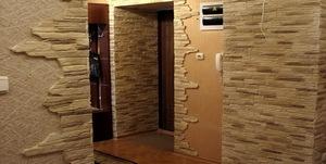 отделка дверного проема декоративным камнем фото