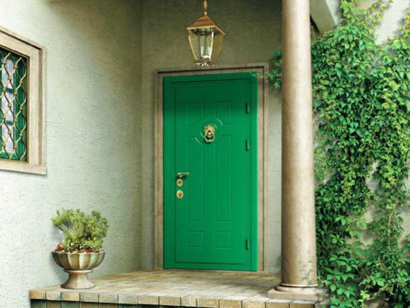 железные двери для загородного дома зеленая
