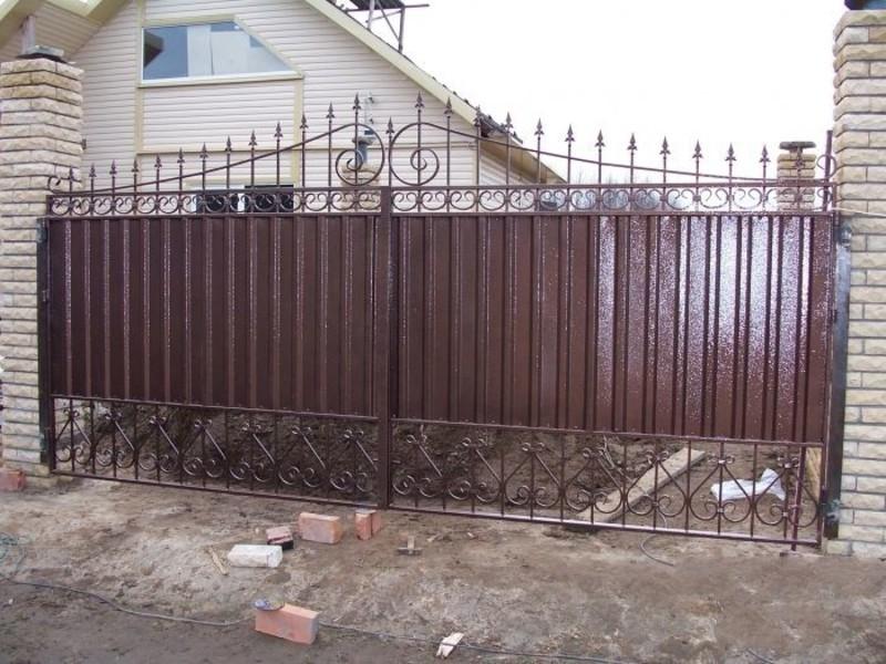 Ворота из профнастила с элементами ковки своими руками фото фото 685