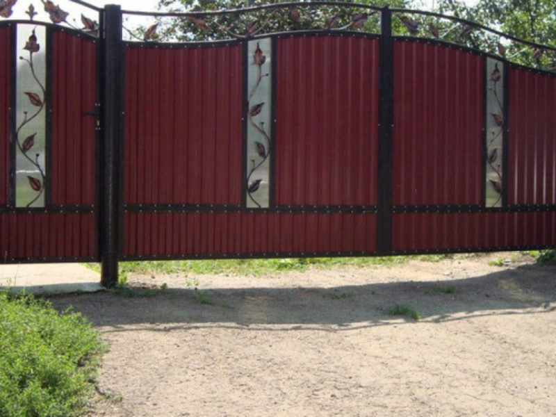 Ворота с металлопрофиля своими руками фото
