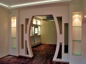 арки из гипсокартона фото дизайн зала